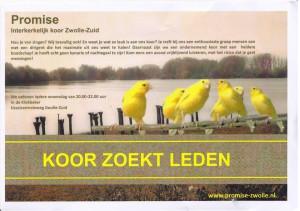 Promise Koor Zwolle zoekt koorleden